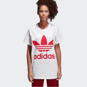 Adidas Originals White T-Shirt with Pink Logo